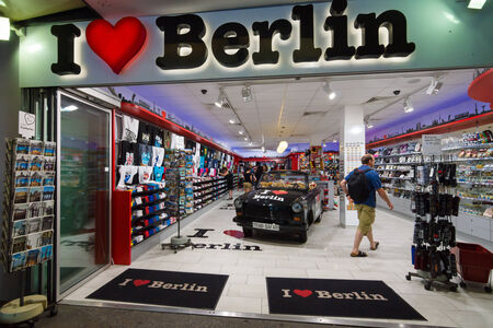BERLIN - JULY 18, 2014: The gift shop on the street Kurfurstendamm.