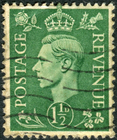 UNITED KINGDOM - CIRCA 1951: Postage stamp printed in England, shows King of the United Kingdom and the Dominions of the British Commonwealth, George VI, circa 1951 Editorial