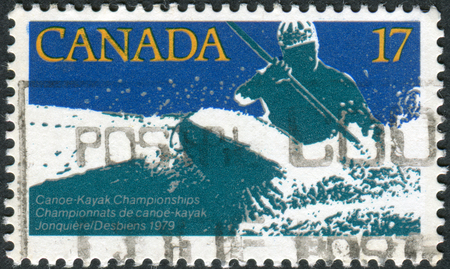 canada stamp: CANADA - CIRCA 1979: Postage stamp printed in Canada, dedicated to Canoe-kayak world championship, shows White water kayak race, circa 1979