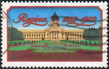 regina: CANADA - CIRCA 1982: Postage stamp printed in Canada, dedicated to the centennial of the city of Regina, shows Parliament building, circa 1982