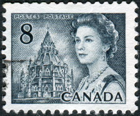 CANADA - CIRCA 1971: Postage stamp printed in Canada, shows Library of Parliament, Ottawa, Queen Elizabeth II, circa 1971