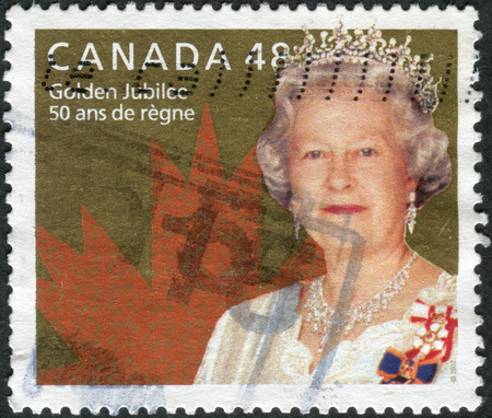 canada stamp: CANADA - CIRCA 2003: Postage stamp printed in Canada, dedicated to the 50th anniversary of the Coronation of Queen Elizabeth II, circa 2003