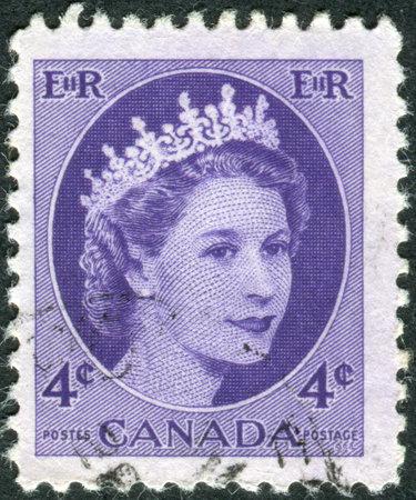 canada stamp: CANADA - CIRCA 1954: Postage stamp printed in Canada, shows portrait of Queen Elizabeth II, circa 1954