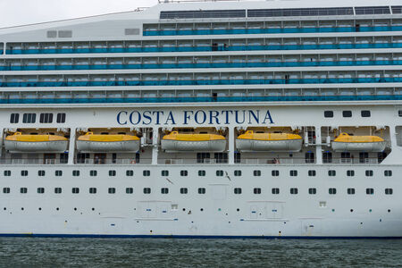 fortuna: ROSTOCK, GERMANY - AUGUST 02, 2014: Detail of a cruise liner Costa Fortuna. Costa Fortuna is a cruise ship Destiny-class, Length 273 m, capacity of 2720 passengers.