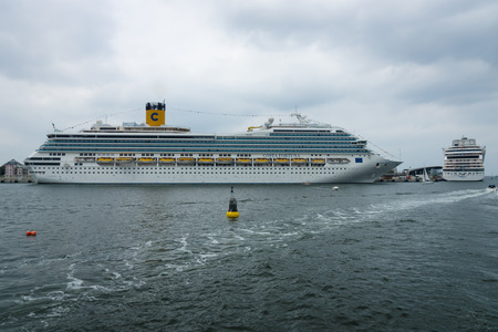 fortuna: ROSTOCK, GERMANY - AUGUST 02, 2014: Costa Fortuna at berth Warnemunde. Costa Fortuna is a cruise ship Destiny-class, Length 273 m, capacity of 2720 passengers.