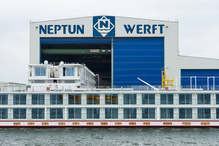 headquartered: ROSTOCK, GERMANY - AUGUST 02, 2014: Neptun Werft is a German shipbuilding company, headquartered in Rostock. Rostock is Germanys largest Baltic port