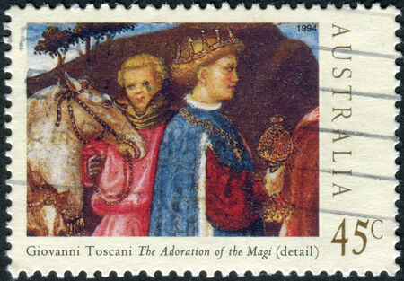 adoration: AUSTRALIA - CIRCA 1994: Postage stamp printed in Australia, Christmas Issue, shows Details from Adoration of the Magi by Giovanni Toscani, circa 1994