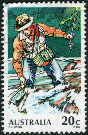 philatelist: AUSTRALIA - CIRCA 1979: Postage stamp printed in Australia, dedicated to Sport fishing, shows Trout Fishing, circa 1979