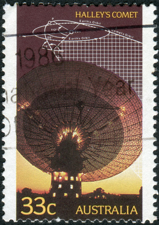 trajectory: AUSTRALIA - CIRCA 1986: Postage stamp printed in Australia, devoted to research of Halleys comet, shows Radio telescope, trajectory diagram, circa 1986