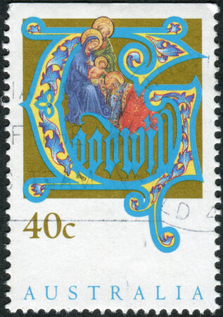 adoration: AUSTRALIA - CIRCA 1993: Postage stamp printed in Australia, Christmas Issue, shows Adoration of the Magi, circa 1993 Editorial