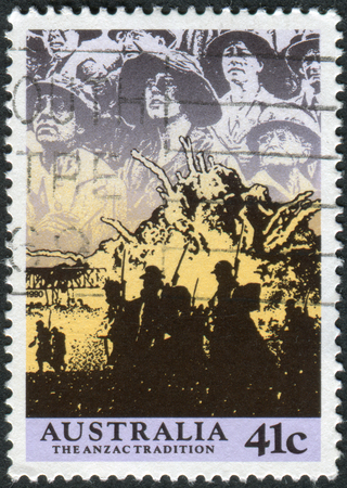 philatelist: AUSTRALIA - CIRCA 1990: Postage stamp printed in Australia, shows Scenes from WW II, 1940-41: Anzacs at the front, circa 1990