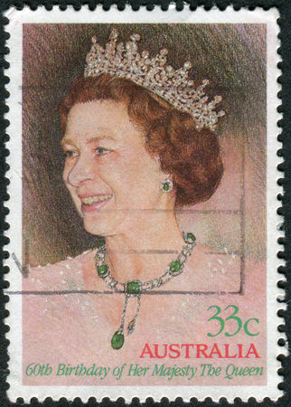 australia stamp: AUSTRALIA - CIRCA 1986: Postage stamp printed in Australia, dedicated to 60th Birthday Queen Elizabeth II, shows a portrait, circa 1986 Editorial