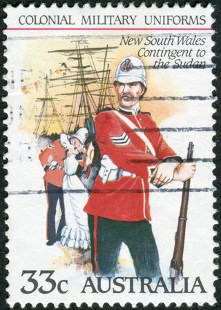 contingent: AUSTRALIA - CIRCA 1985: Postage stamp printed in Australia shows the Colonial military uniforms: New South Wales Contingent to the Sudan, circa 1985