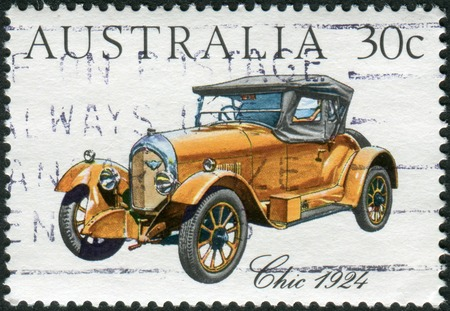 philatelist: AUSTRALIA - CIRCA 1984: Postage stamp printed in Australia, shows Australian-made vintage cars: Chic, 1924, circa 1984