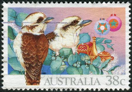australia stamp: AUSTRALIA - CIRCA 1990: Postage stamp printed in Australia, Christmas Issue, shows Kookaburras (Dacelo), circa 1990