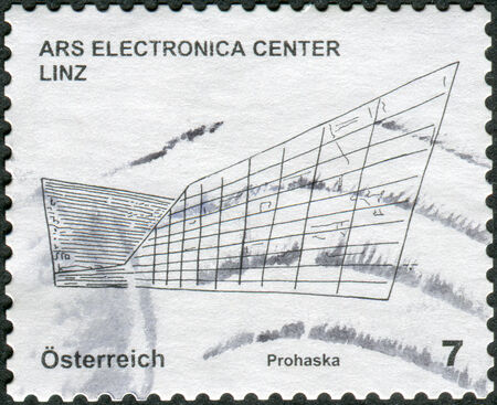 electronica: AUSTRIA - CIRCA 2011: Postage stamp printed in Austria, shows the Ars Electronica Centre Linz, circa 2011
