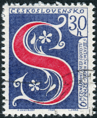 czechoslovakia: CZECHOSLOVAKIA - CIRCA 1968: Postage stamp printed in Czechoslovakia, is devoted to the 6th International Congress of Slavic Studies, shows the letter S - the symbol of Congress, circa 1968