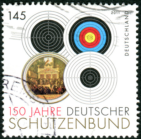 philatelist: GERMANY - CIRCA 2011: Postage stamps printed in Germany, dedicated to the 150th anniversary of the German Shooting Federation, shows the different types of targets, circa 2011