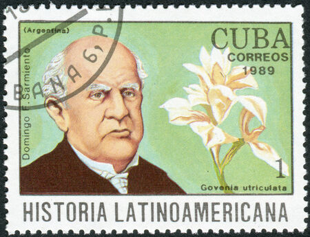 sarmiento: CUBA - CIRCA 1989: Postage stamp printed in Cuba, shows the Argentine writer and 7th President of Argentina, Domingo Faustino Sarmiento and orchid Govenia utriculata, circa 1989