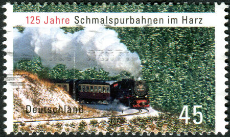 narrow gauge: GERMANY - CIRCA 2012: Postage stamps printed in Germany, dedicated to the 125th anniversary of the Narrow gauge railway in the Harz, circa 2012 Editorial