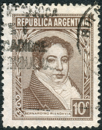 philatelist: ARGENTINA - CIRCA 1939: A stamp printed in the Argentina, depicts the first president of Argentina, Bernardino Rivadavia, circa 1939