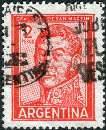jose de san martin: ARGENTINA - CIRCA 1961: A stamp printed in the Argentina, shows a national hero, Jose de San Martin, circa 1961