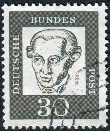 obliteration: GERMANY - CIRCA 1961: Postage stamp printed in Germany, shows portrait Immanuel Kant, circa 1961