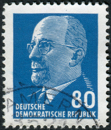 obliteration: GERMANY - CIRCA 1967: Postage stamp printed in Germany (GDR), shows a German Communist politician and statesman Walter Ulbricht, circa 1967