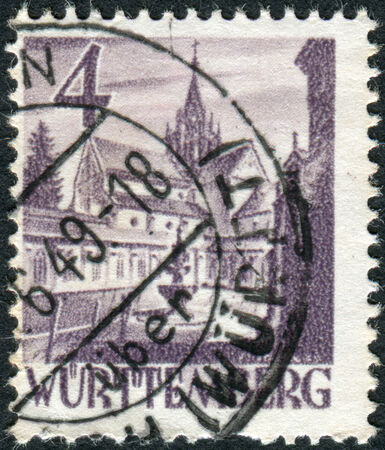 obliteration: GERMANY - CIRCA 1948: Postage stamp printed in Germany (Wurttemberg-Hohenzollern, French occupation zone), shows Castle of Bebenhausen (Bebenhausen Abbey), circa 1948 Editorial