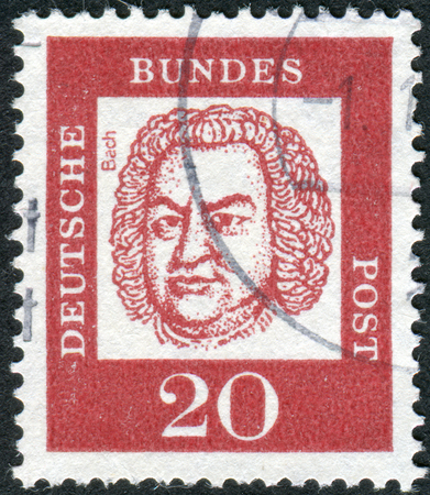 obliteration: GERMANY - CIRCA 1961: Postage stamp printed in Germany, shows portrait of Johann Sebastian Bach, circa 1961