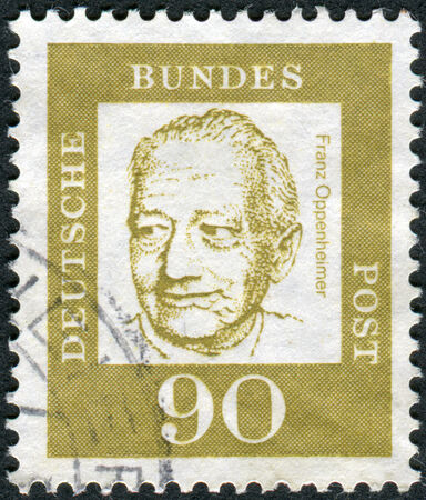 obliteration: GERMANY - CIRCA 1964: Postage stamp printed in Germany, shows portrait Franz Oppenheimer, circa 1964