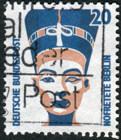 obliteration: GERMANY - CIRCA 1989: Postage stamp printed in Germany, shows Queen Nefertiti of Egypt, bust, Egyptian Museum, Berlin, circa 1989 Editorial
