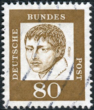 dramatist: GERMANY - CIRCA 1961: Postage stamp printed in Germany, shows portrait of Heinrich von Kleist, circa 1961 Editorial