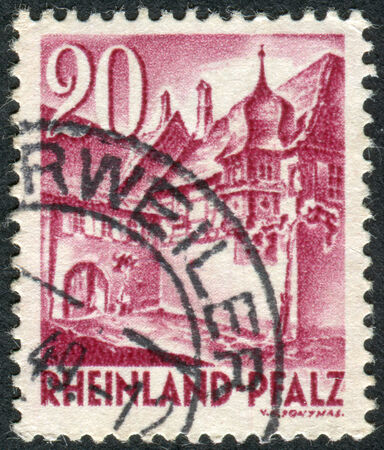 obliteration: GERMANY - CIRCA 1948: Postage stamp printed in Germany (Rhineland-Palatinate, French occupation zone), shows a Street Corner, Sankt Martin, circa 1948 Editorial
