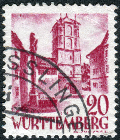 allgau: GERMANY - CIRCA 1948: Postage stamp printed in Germany (Wurttemberg-Hohenzollern, French occupation zone), shows Town Gate of Wangen (Allgau), circa 1948 Editorial