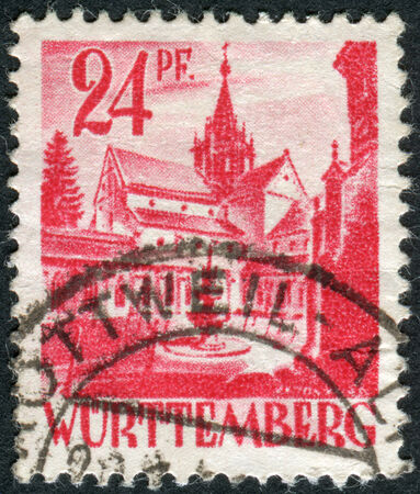obliteration: GERMANY - CIRCA 1947: Postage stamp printed in Germany (Wurttemberg-Hohenzollern, French occupation zone), shows Castle of Bebenhausen (Bebenhausen Abbey), circa 1947 Editorial