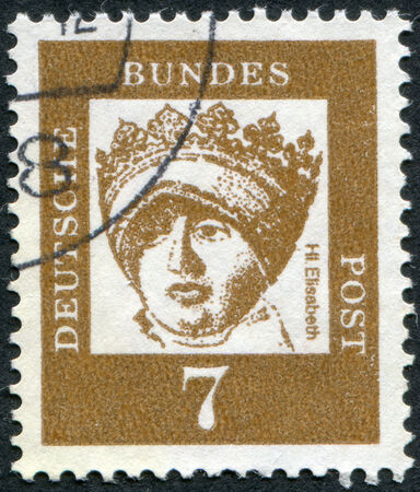 obliteration: GERMANY - CIRCA 1961: Postage stamp printed in Germany, shows portrait of St. Elizabeth of Thuringia (Elizabeth of Hungary), circa 1961
