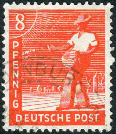 obliteration: GERMANY - CIRCA 1947: Postage stamp printed in Germany, shows the sower, circa 1947 Editorial