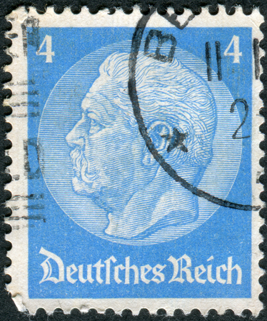 obliteration: GERMANY - CIRCA 1933: Postage stamp printed in Germany (German Reich), shows the 2nd President of Germany, Paul von Hindenburg, circa 1933 Editorial