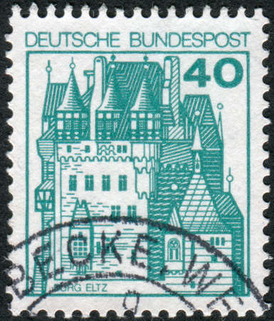 obliteration: GERMANY - CIRCA 1977: Postage stamp printed in Germany, shows a medieval castle Eltz, circa 1977