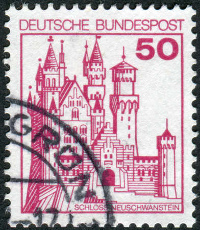 obliteration: GERMANY - CIRCA 1977: Postage stamp printed in Germany, shows the Neuschwanstein Castle, circa 1977
