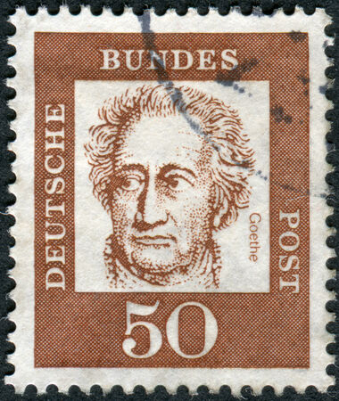 obliteration: GERMANY - CIRCA 1961: Postage stamp printed in Germany, shows portrait of Johann Wolfgang von Goethe, circa 1961 Editorial