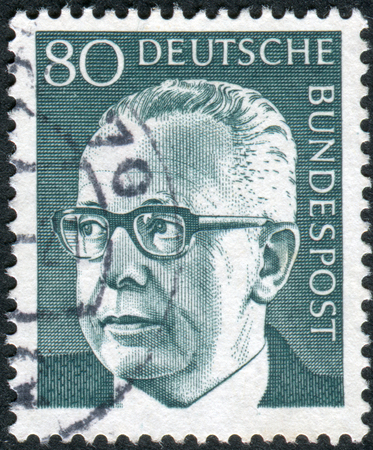 obliteration: GERMANY - CIRCA 1971: Postage stamp printed in Germany, shows the 3rd President of the Federal Republic of Germany, Gustav Walter Heinemann, circa 1971