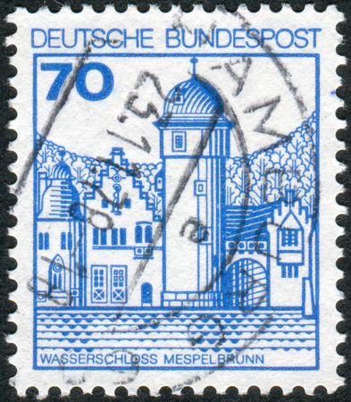 obliteration: GERMANY - CIRCA 1977: Postage stamp printed in Germany, shows Mespelbrunn Castle, circa 1977