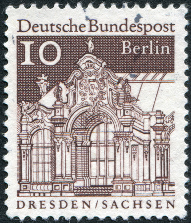 obliteration: GERMANY - CIRCA 1967: Postage stamp printed in Germany (West Berlin), shows Wall Pavilion, Zwinger, Dresden, circa 1967 Editorial