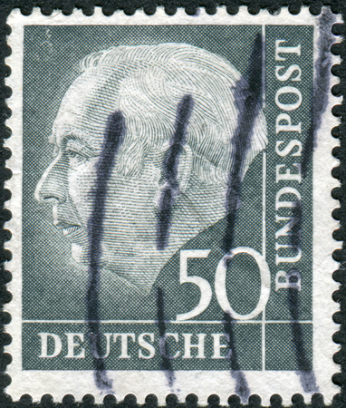 theodor: GERMANY - CIRCA 1954: Postage stamp printed in Germany, shows the 1st President of the Federal Republic of Germany, Theodor Heuss, circa 1954