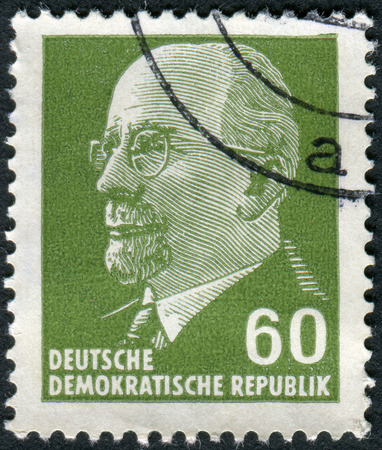 obliteration: GERMANY - CIRCA 1964: Postage stamp printed in Germany (GDR), shows a German Communist politician and statesman Walter Ulbricht, circa 1964 Editorial