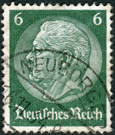 hindenburg: GERMANY - CIRCA 1934: Postage stamp printed in Germany (German Reich), shows the 2nd President of Germany, Paul von Hindenburg, circa 1934 Editorial