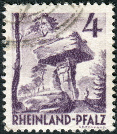 obliteration: GERMANY - CIRCA 1949: Postage stamp printed in Germany (Rhineland-Palatinate, French occupation zone), shows the Devil