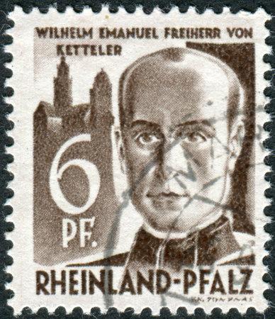 theologian: GERMANY - CIRCA 1948: Postage stamp printed in Germany (Rhineland-Palatinate, French occupation zone), shows Wilhelm Emmanuel Freiherr von Ketteler, circa 1948 Editorial